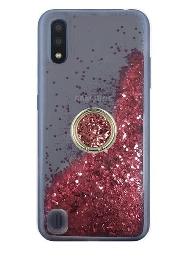 MobilCadde Samsung Galaxy A01 Simli Sulu Yüzük Tutuculu   Rubber Kılıf Renkli